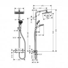 Crometta E 240 1jet Varia Showerpipe Душевая система с термостатом, хром