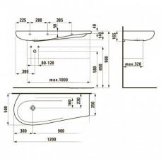 ALESSI ONE умывальник 120см, с интегр. столешницей слева, без отв. под смеситель, без отв. перелива, с покрытием LCC