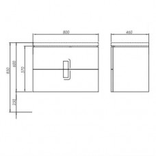 TWINS шкафчик под умывальник 80см с двумя ящиками, черный матовый