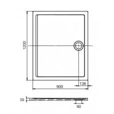 AERON поддон 1200*900*35мм, из искусств.камня STONEX, прямоугольный, с трапом, сифоном в комплекте, цвет белый
