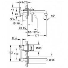 BauClassic Смеситель для раковины, однорычажный, встраиваемый механизм в комплекте