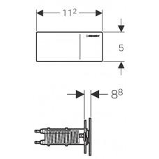 Type70 Дистанционная клавиша смыва, двойной смыв, для Sigma бачков 12 см, стекло белое