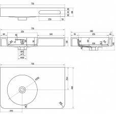 Раковина-столешница подвесная с полотенцедержателем, каменная Solid surface 750*480*140mm