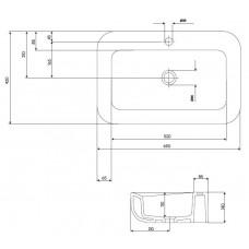 COCKTAIL умывальник 65см, встраиваемый на столешницу, прямоугольный, с покрытием Reflex
