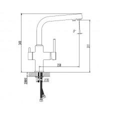 Смеситель для кухни DAICY однорычажный с подключением питьевой воды, (черный)