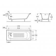 CONTINENTAL ванна 170*70см + сифон Simplex  для ванны автомат (285357)