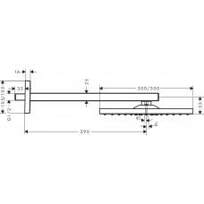 Raindance E Верхний душ 300 Air 1jet, с держателем 390мм, версия EcoSmart, 9 л/мин, хром