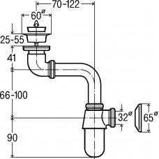 Сифон для умывальника с выпуском, 1 1/4, изогнутый, хром (148355)