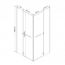 RUBIK Душевая кабина квадратная 90*90*190см (стекла+двери), распашные двери, стекло прозрачное 8 мм (без поддона)