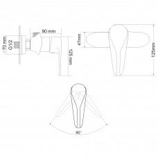 TULIP смеситель для душа  однорычажный, хром 35 мм