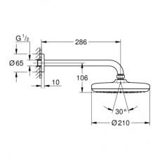 TEMPESTA 210 Верхний 286 мм душ, 1 режим струи