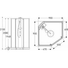 IDO задние стенки душевой пятиугольной кабины 90*90см, серебряный профиль/матовое стекло
