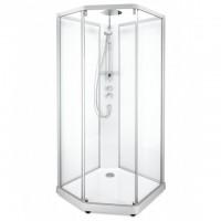 SHOWERAMA 10-5 Comfort  душевая кабина пятиугольная 100*100см, профиль серебристый, прозрачное стекло/ матовое стекло