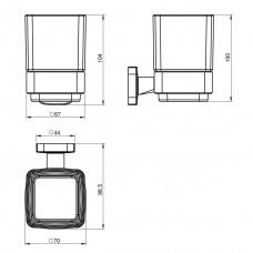 Стакан TEO матовое стекло, крепление к стене, хром