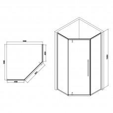 A LÁNY Душевая кабина пятиугольная, реверсивная, 1000*1000*1950 (стекла + двери) , двери распашные, стекло прозрачное  6 мм, профиль хром