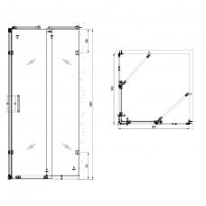 Душ кабина квадратная 90х90х1900 мм,стекло с узором Fylfot+поддон (PUF) на пенополиуретане, квадратный 900*900*50 мм +сифон