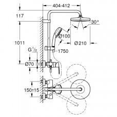 Tempesta Cosmopolitan System 210 Душевая система с однорычажным смесителем настенного монтажа