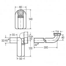 Сифон для умывальника 1 1/4, компактный, пластик (570323)