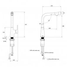SMART bio смеситель для кухни, хром, 35 мм, с подключением фильтрованной/питьевой воды