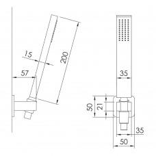 GRAFIKY набор душевой (ручной душ 1 режим, шланг, держатель), хром