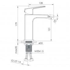 GRAFIKY смеситель для биде, хром, 35 мм