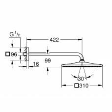 Rainshower 310 Mono Cube Набор 422 мм верхнего душа, 1 режим струи