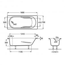 GENOVA ванна 150*70см, акриловая, прямоугольная, с регулир. ножками в комплекте, объем 158л, цвет белый