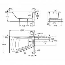 HALL ванна 150*100см, акриловая, угловая, левая версия, белая, с интегр. подлокотниками, с подголовником и регулир. ножками