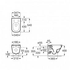 Комплект: GAP Rimless унитаз подвесной с сиденьем Slim, slow-closing, комплект инсталляции Rapid SL 38772001, с прокладкой 37131000