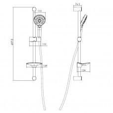 Штанга душевая L-66см, ручной душ 3 режима, шланг, мыльница