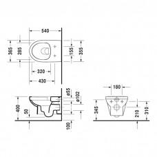 DURASTYLE BASIC Rimless унитаз 36,5*54см, подвесной, в комплекте с сиденьем с автомат. закрыванием
