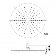 Душ верхний 300х4 мм