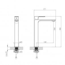 DE LA NOCHE смеситель для умывальника высокий, 26 мм