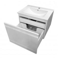 ORLANDO тумба подвесная 60*46*62см со скрытым ящиком, белая + умывальник накладной 60см