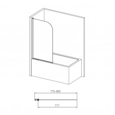 Шторка на ванну 140*80см, односекционная, поворот на 180°, прозрачное стекло 5мм