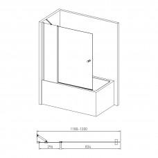 Шторка на ванну 120*140см, с одним неподвижным элементом и поворотным на 180°, с подъемом, прозрачное стекло 6мм, с креплением со стены и ручкой
