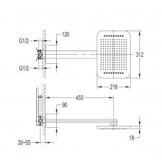 SMART CLICK набор (верхний душ 2 функции +держатель), хром