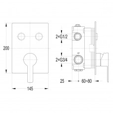 SMART CLICK смеситель для душа скрытый монтаж, 2 режима, хром