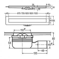 ADVANTIX душевой лоток с глянцевой поверхностью L = 1200 мм, с решеткой Visign ER10