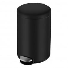 Ведро мусорное округлое 3л, с педалью, черное