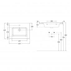 LIBRA комплект мебели 60см белый: тумба подвесная, 2 ящика + умывальник накладной арт 15-41-060