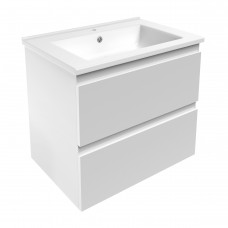 LEON комплект мебели 65см белый: тумба подвесная, 2 ящика + умывальник накладной