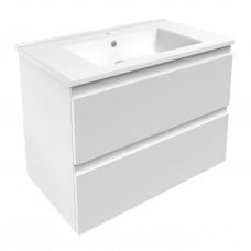 LEON комплект мебели 80см белый: тумба подвесная, 2 ящика + умывальник накладной