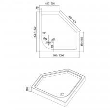 IRIS поддон 90*90*16см пятиугольный, с сифоном