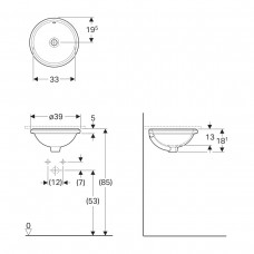 VARIFORM умывальник встраиваемый под столешницу, круглый,  Ø33см, без отверстия, с переливом, глазурованный снизу