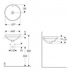 VARIFORM умывальник встраиваемый в столешницу, круглый, Ø40см, без отверстия, с переливом