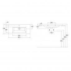 AIVA комплект мебели 80см белый: тумба подвесная , 2 ящика + умывальник накладной арт 15-68-080