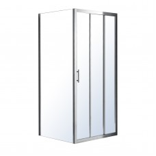 LEXO душевая кабина 100*80*195см с 3хсекционной раздвижной дверью, прозрачное стекло 6мм, хром