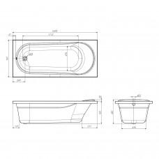 Комплект: IBERIA ванна 170*75*48см без ножек + SIMPLEX сифон для ванны
