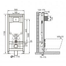 Комплект: MERIDIAN Rimless унитаз подвесной 48см, с сиденьем Slim, с системой плавного опускания + VOLLE MASTER комплект инсталляции 4в, клавиша хром